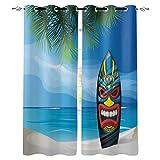Verdunkelungsvorhänge mit silbernen Ösen oben, Tiki Warrior Maske, Surfbrett, wärmeisoliert, verdunkelnd, Fenster-Vorhang für Schlafzimmer/Schiebetür