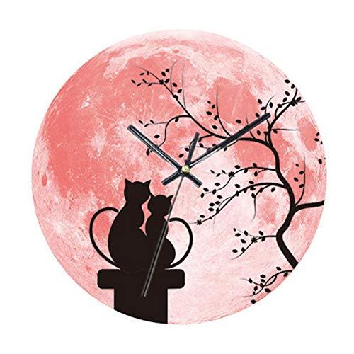 GZGJ Luminous Moon Kitchen Wanduhr Cat Clocks Guess Uhrwerk Secret Stash Resin Pattern Figure Decor Clocks