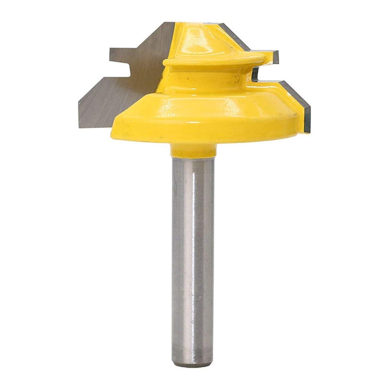 生産性種類五月Saikogoods 1/4インチ 45度テノンナイフ1/4×1-3 / 8 框指 関節接着ルータービット コーンテノン木工 キャビネットドアカッター 黄