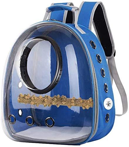 MGPLBYA Pet Carrier Backpack, Pet Travel BagBird Carrier, Parrot Carrier Backpack Travel Cage Birds Breathable Transparent Space Capsule (Color : Navy)