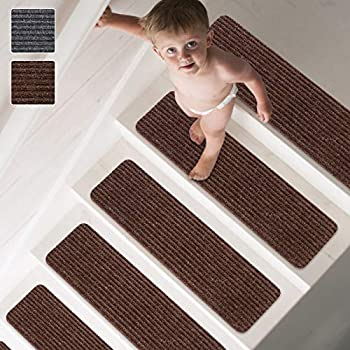 """MATAHUM Non-Slip Stair Treads Carpet Treads for Wood Stairs Set of 15 Safety Slip Resistant for Kids Elders and Dogs 8""""X30"""" Brown"""
