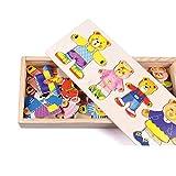 LACKINGONE Los niños de Madera Usan Ropa cambiante para niños y niñas Rompecabezas tridimensionales Juguetes de Bloques de construcción 1-4 años