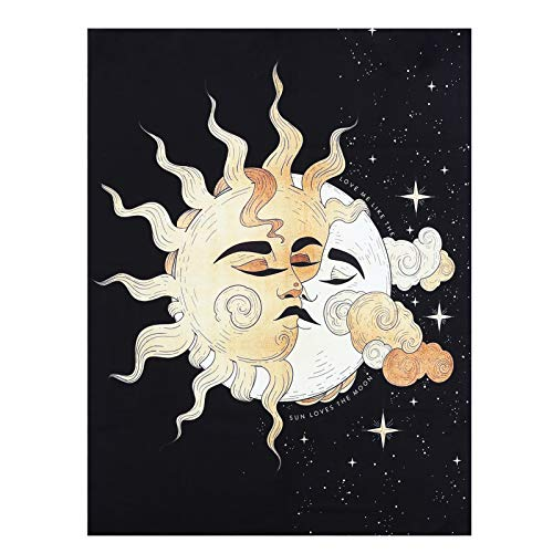 SAJKLD Tarot Tapestry Wall Hanging - Short Plush Velvet Black Aesthetic Starry Night Sun and Moon Tapestries for Bedroom Living Room Decor(Sun and Moon, 35x47 in)