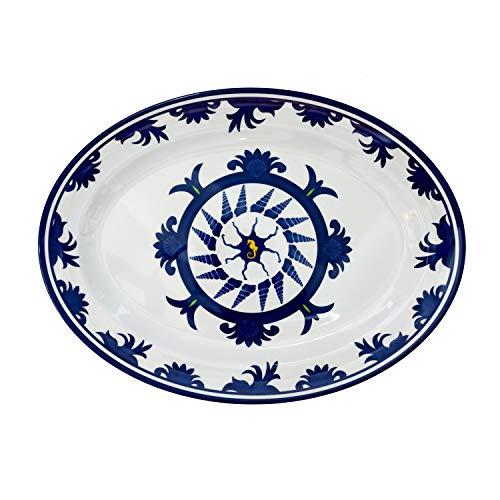 Flores Mar 16'oval plato de melamina bandeja para servir Coastal diseño náutico Decor