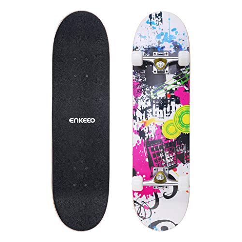 ENKEEO Skateboard Completo Double Kick Concave Skateboard 32', Peso Massimo 100kg, 4 Cuscinetti ABEC-9 Ideale per Principianti e Professionisti,Bianco