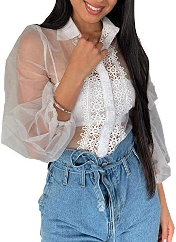 Blusa Mujer Bordado Transparente con Cuello Top Mujer Camisa ...