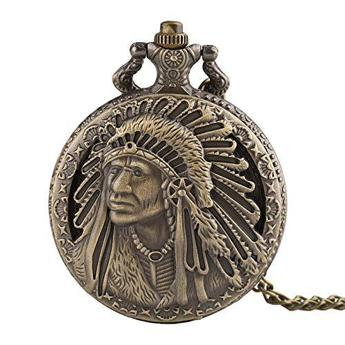 Taschenuhr Fob Pocket Watch 3D Indianer Design Quarz Anhänger Uhr Bronze Halskette Kette Männer Frauen