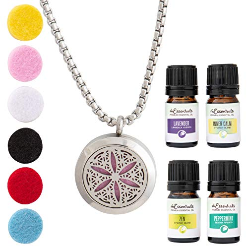 mEssentials Flower of Life Essential Oil Diffuser Necklace Stainless Steel Locket Pendant with 24' Chain+ 4 Essential Oils (Lavender, Peppermint, Inner Calm, Zen) Gift Set