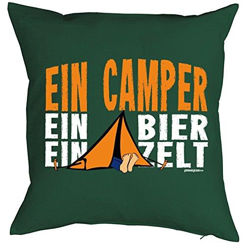 Goodman Design ® Camping Artikel Kissen mit Füllung Ein Camper ein Bier ein Zelt für den Wohnwagen Caravan für Camper Camping