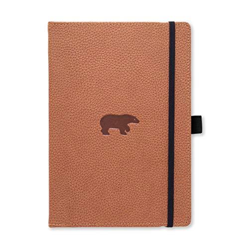 Dingbats D5023H Wildlife A5+ Hardcover Notizbuch - PU-Leder, Mikroperforiert 100gsm Creme Seiten, Innentasche, Gummiband, Stifthalter, Lesezeichen (Gepunktet, Braunbär)
