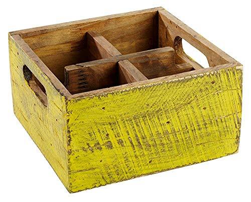 APS Table Caddy–Vintage de de madera de pino, en turquesa, 17x 17x 10cm
