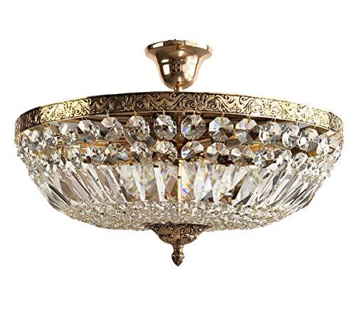 Kristallen plafondlamp, kristallen plafondlamp, mooie bruine antiek goud 9 vlammig gemaakt van geslepen kristallen PGA Lights®