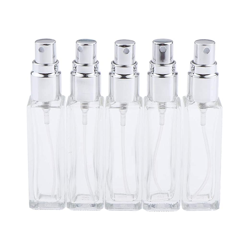 不注意スタック失業者Sharplace 香水ボトル ガラス コスメ 詰替え容器 5本 3色選べ - シルバー