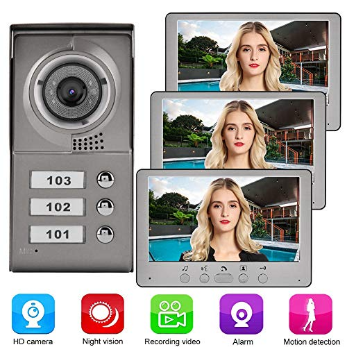 Garsent Video Türsprechanlage Türklingel System, 3 LCD Monitor Wired Video Türglocke mit Nachtsicht Kamera, Doorbell Intercom 815MC13 für 3 Wohnung Familienhaus(EU 110-240V)