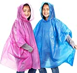 Juvale Einweg-Notfall-Regenponchos für Kinder mit Kapuze (10er-Pack) - Blau, Pink