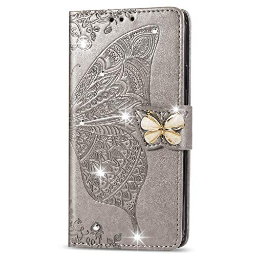 Leather Wallet Case for iPhone XS/iPhone X Case Pu Leather Flip Wallet Stand Case With Card Holder Slim Case Cover with Card Slots for Apple iPhone XS/X - ZISD040060 Grey