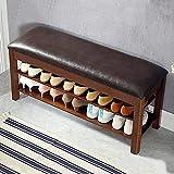 40 pulgadas de estante de zapatos banco otomano de almacenamiento, PU cuero sofá taburete de la cama final, entrada de cambio de zapatos taburete de almacenamiento de 2 niveles pecho(Color:Naturaleza)