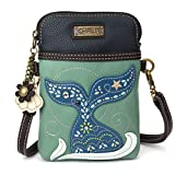 Chala Dazzled Crossbody Cell Phone Purse - Women Faux Leather Multicolor Handbag with Adjustable Strap - Mermaid Tail - Teal