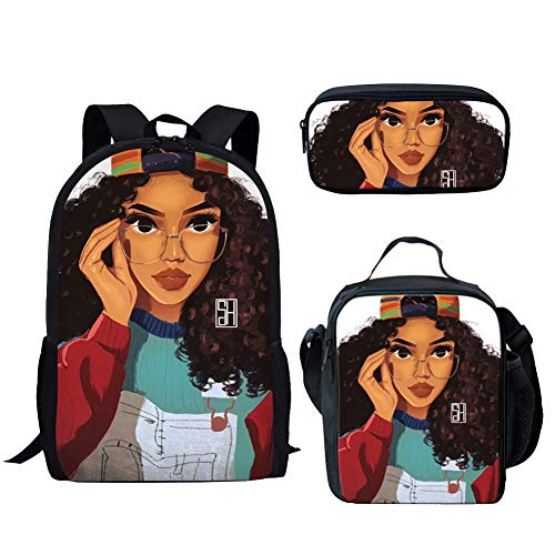 Salabomia Afro African American Women Backpack Sets, Zipper SchoolBags + Lunch Bag + Pencil Case 3pc Rucksack Gifts