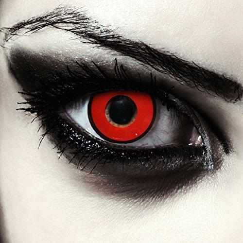 Rote farbige Dämonen Kontaktlinsen ohne Stärke für Halloween Farblinsen in rot Model: Red Demon + gratis Kontaktlinsenbehälter