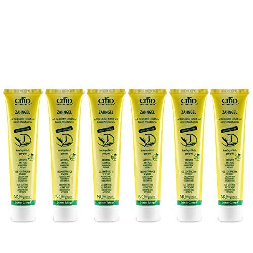 CMD theeboomolie tandgel (6 x 75 ml), met groene thee zonder fluoride, zonder etherische oliën (hypoallergeen) biologische tandpasta, veganistisch, natuurlijke cosmetica voor gevoelige tanden