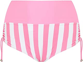 Viva Voluptuous Pink and White Candy Stripe Women's Plus Size Swimsuit Bikini Bottoms Briefs US Sizes L to 10XL