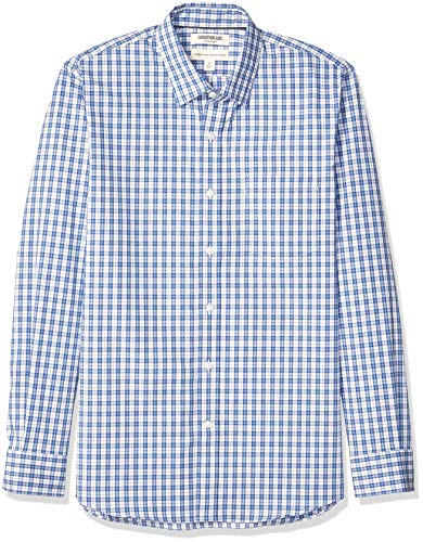Amazon-Marke: Goodthreads Herrenhemd, langärmlig, normale Passform, Komfort-Stretch, pflegeleicht, aus Popeline, Denim Blue Check, US M (EU M)