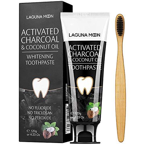 Lagunamoon Dentifricio sbiancante per denti al carbone attivo e olio di cocco, dentifricio al carbone naturale al 100% per sbiancamento dei denti, rimozione di macchie, aroma di menta