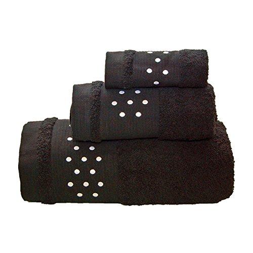 Lunares Toallas De Baño De 3Piezas–Juego de toallas de baño + Toalla de mano +–Toalla de tocador, W/Blanco y Negro