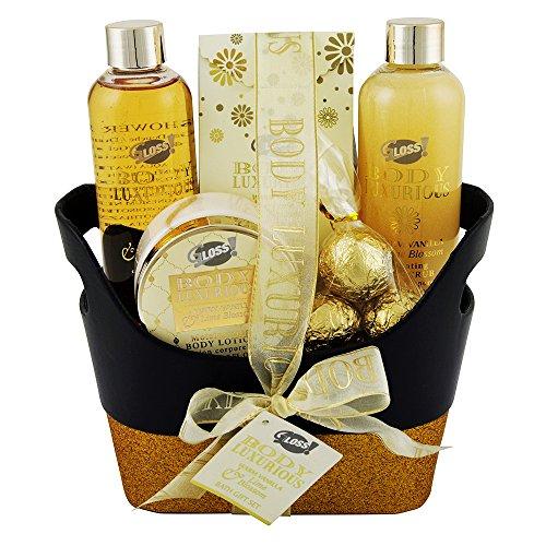 Gloss! Trash-Bad Luxe body goud vanille en limoen (200 ml douchegel, 200 ml lichaamspeeling, 110 ml bodylotion, 200 g badkristallen, 2 x 15 g douche bomen), 1 stuk (1 x 6 stuks)