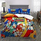 Supstar Boys Sonic Mania Plus Bedding Set Full Size 3 Piece Kids 3D Cartoon Comforter Sets 1 Duvet Cover with 2 Pillowcases S13