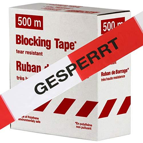 Warnband GESPERRT rot-weiß 80 mm extrem reißfest 500m lang Flatterband