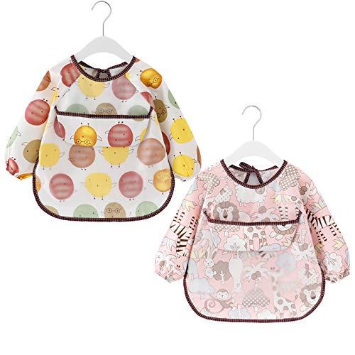 2 Paquetes Babero con Mangas Largas Impermeable Baberos de Alimentación para Bebés Algodón Delantal Lavable del Bebé por 6-36 Meses Niños Comiendo Pintura y Jugando