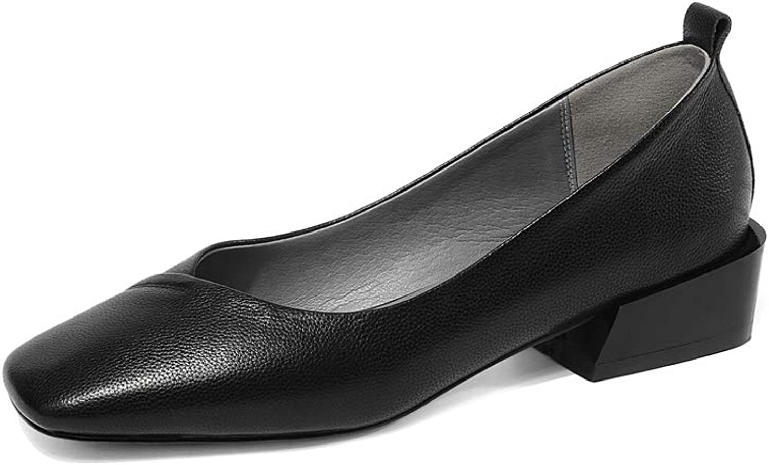 Dulce Diva Cow Leather Square Toe Low Heel Slip On Handmade Pumps for Women Soft