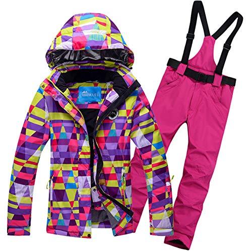 Femme Vestes de Ski Snowboard Coupe-Vent Veste pour Femmes Imperméable Habit de Neige Jeu Manteau de vêtements de Ski coloré-A L