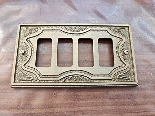 Placa de latón elaborada ADL Fonderia 4 plazas / agujeros para Bticino Magic