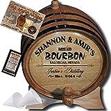 Personalized American Oak Bourbon Aging Barrel (062) - Custom Engraved Barrel From Skeeter's Reserve Outlaw Gear - MADE BY American Oak Barrel - (Natural Oak, Black Hoops, 2 Liter)