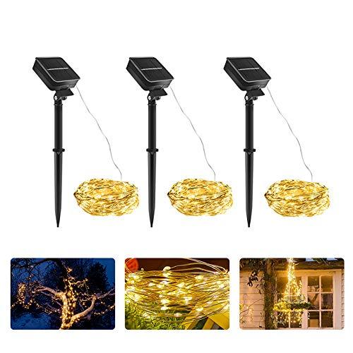 Guirlande Lumineuse Solaire, [Lot de 3] 10m 100 LED Guirlande Lumineuse Exterieur, 8 Modes Étanche Lumiere Solaire Exterieur pour Jardin, Terrasse, Maison, Noël, Mariage Décor