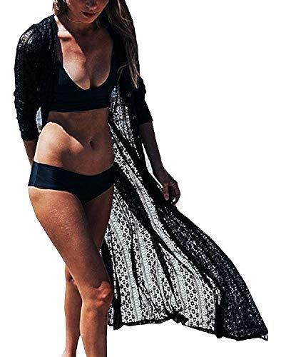 Pareo mare Femmina - Donna - Lungo - Tunica - Bikini - CopriCostume - Piscina - Mare - Pizzo - Spiaggia - Maniche lunghe - Bottoni - Misura Unica - Femminile - Ragazza - Nero - Idea regalo originale