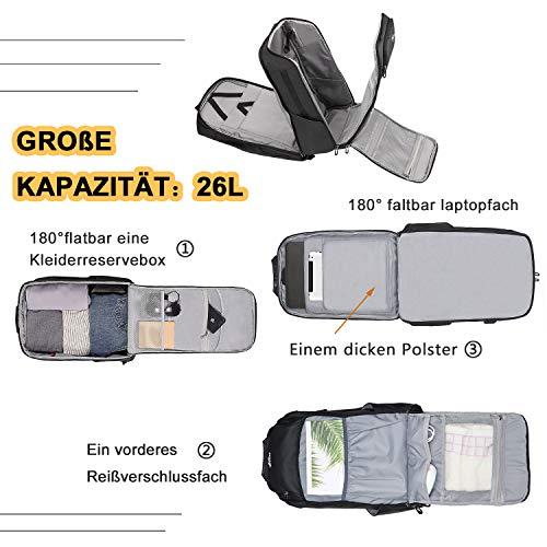 Großer Rucksack Herren Reiserucksack Handgepäck - Carry on 15,6 Zoll Business Laptop Rucksäcke Flugzeug, Geschäftsreisen Schulrucksack für Männer Damen Arbeits Reise, mit 3.0 USB Ladebuchse, Schwarz