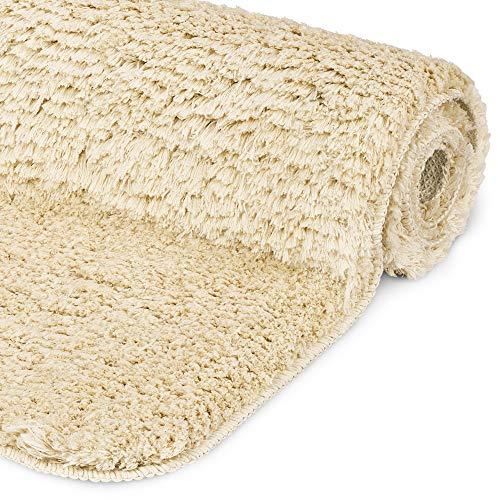 Beautissu Alfombrilla de baño de felpilla Antideslizante BeauMare FL Natural - 60 x 50 cm óptica Shaggy - Alfombra de baño mullida y Suave - Adecuado para Suelo Radiante