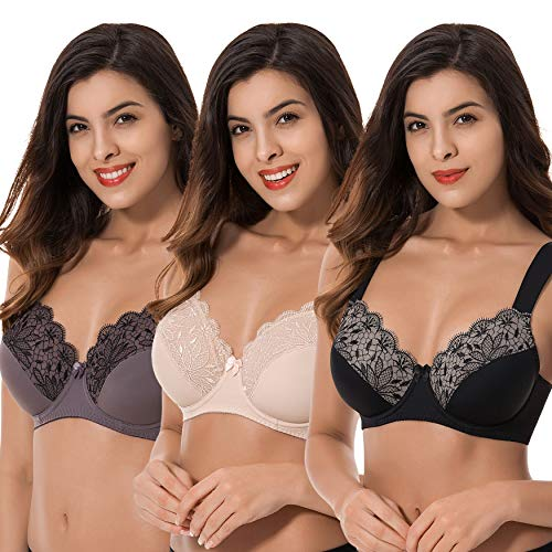 Curve Muse Plus Size Unlined Minimizer Underwire Bra with Embroidery Lace-3 Pack-Grey,Pink,BLACK-48DD