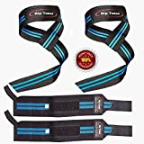 Rip Toned Lifting Straps + Wrist Wraps Bundle (1 Pair of Each) Bonus Ebook for...