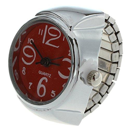 SODIAL(R) Ring Uhr Quarzwerk Legierung runde Zifferblatt rote Schmucksachen