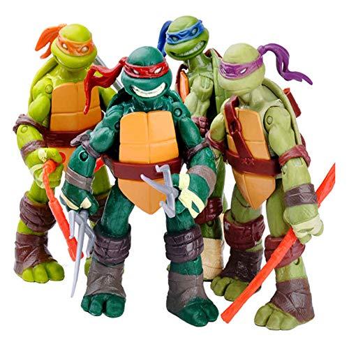 CWBBN Tortugas Ninja Set,Teenage Mutant Ninja Turtles Figura, Acción Modelo de Personaje Colección de Cumpleaños para Niños,12cm