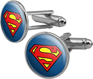 GRAPHICS & MORE Superman Classic S Shield Logo Round Cufflink Set Silver Color