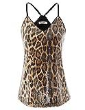 GRACE KARIN Camiseta de Tirantes para Mujer de Lentajuelas Top Brillante para Fiesta Leopardo S