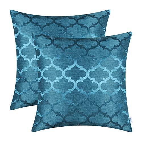 CaliTime - Juego de 2 fundas de cojín para sofá, brillo moderno y contraste cuadrifolio de diseño geométrico