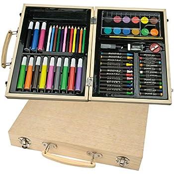 malkoffer Paint caja 66 con 11 utensilios – Malset de 66 piezas para escuela y Co.: pinturas el compacto en práctico estuche de madera.: Amazon.es: Oficina y papelería