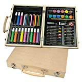 malkoffer 'Paint Box 66' con 11utensili–66Set di disegni da colorare per Scuola e Co.: Il Compatto malkasten in una pratica valigetta in legno.